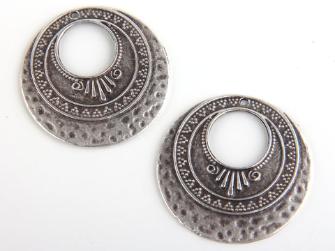 Antique Silver Bohemian Pendant, Boho Earring Pendants, Gypsy Necklace Pendants, 2 pieces // SP-226