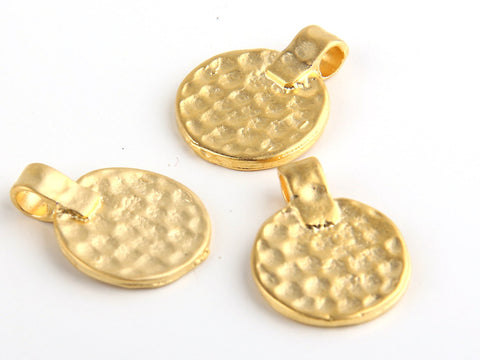 Hammered Gold Coin Pendants, Ethnic Coin Pendant Charms, 3 pcs // GP-372