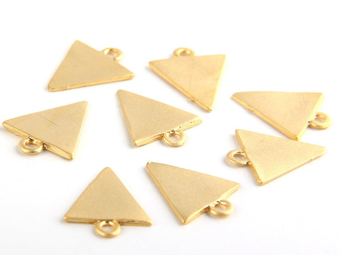 Gold Plated Mini Triangle Pendants, Triangle Charms, Geotmetric Charms, 8 pieces // GP-371
