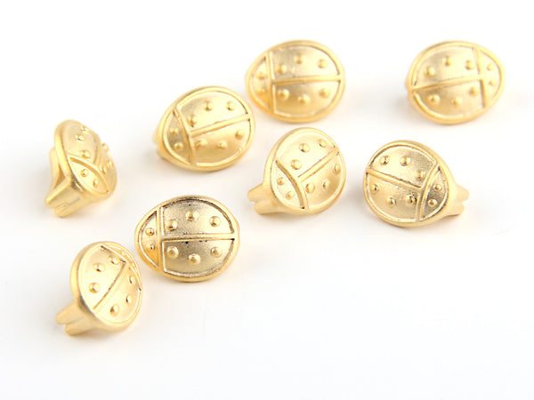 Matte Gold Plated Mini Ladybug Slider Beads, 8 pieces // GB-114