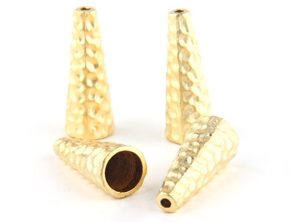 Hammered Gold Bead End Caps, Tassel Caps, 4 pieces // GF-099
