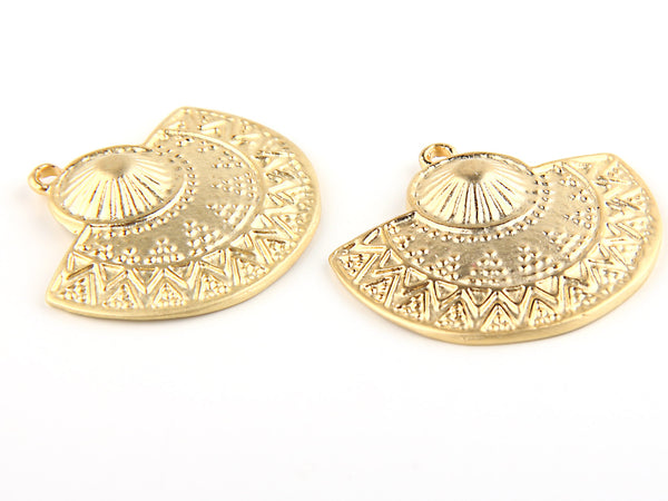 Semi Circular Tribal Pendant, Ethnic Pendant, Gypsy Pendants,  22k Matte Gold Plated, 32mm, 2 pieces // GP-380