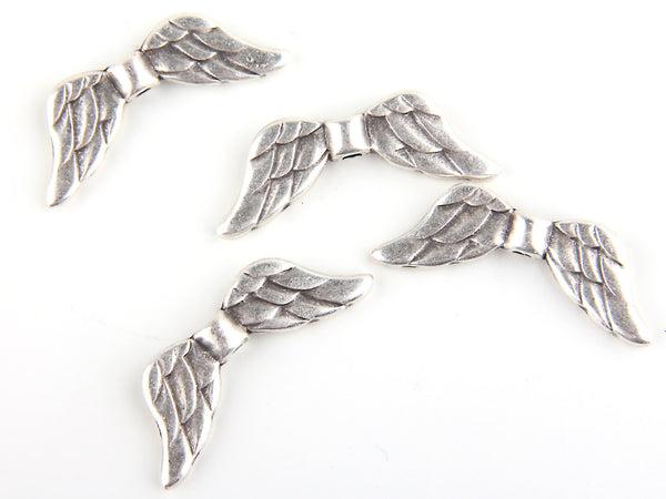Angel Feather Wing Bead Sliders, .925 Silver Plated, 4 pieces // SB-066