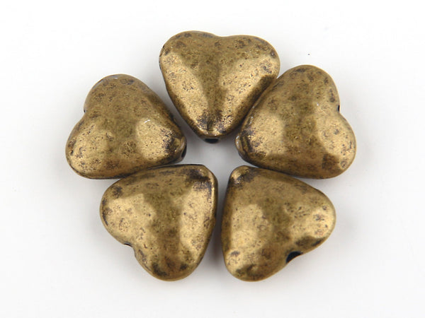 Antique Bronze Heart/LoveBeads, Heart Bead Spacers, European Beads, 5 pieces // ABB-018