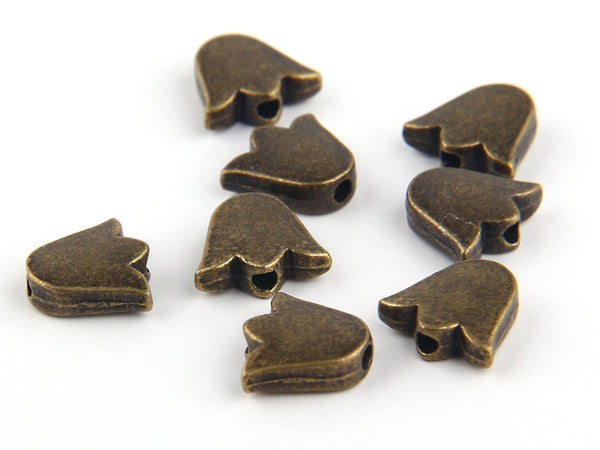 Antique Bronze Tulip Beads, Tulip Spacer Beads, 8 pieces // ABB-017