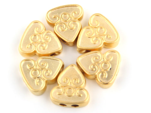 Curly Triangle Flat Bead Slider with Double Hole, Matte Gold Plated, 6 pieces // GB-123