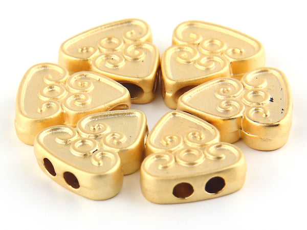 SALE, Curly Triangle Flat Bead Slider with Double Hole, Matte Gold Plated, 6 pieces // GB-123