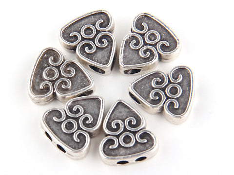 Curly Triangle Flat Bead Slider with Double Hole, Antique Silver Plated, 6 pieces // SB-069