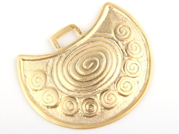 Large Spiral Ethnic Tribal Pendant, Matte Gold Plated,1 piece // GP-383