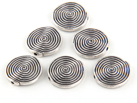Antique Silver Spiral Round Bead, Spiral Beads, Antique Silver Plated, 6 pieces // SB-070