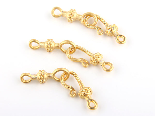 3 sets x Gold Plated Hook and Eye Clasps | Gold Clasps | Hook and Eye | Jewelry Findings // GF-109