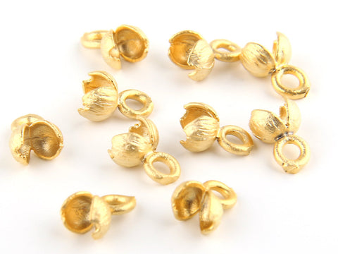 Gold Plated End Caps, Knot Cover Ends, 22k Matte GoldPlated, 10 pieces // GF-107