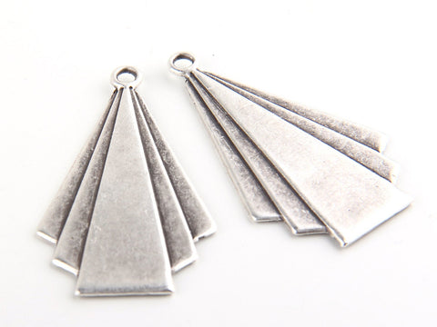 Tribal Pendant, 3D Tribal Pendant, Matte Silver Plated, 2 pieces // SP-233