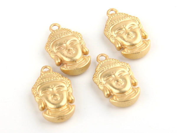 Matte Gold Buddha Head Charms, Yoga Jewelry, Matte Gold Plated, 4 pieces // GCh-178