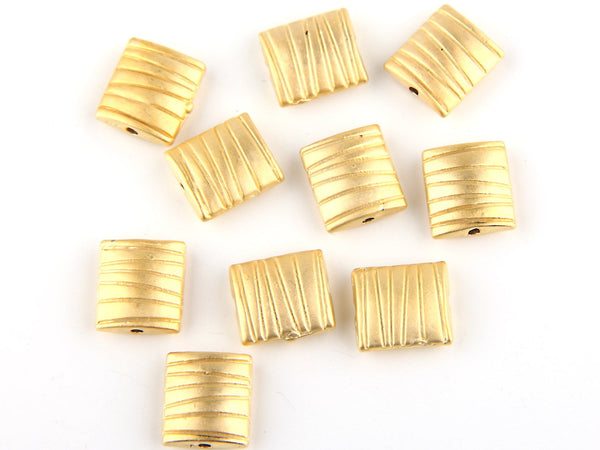 Matte Gold Square Zebra Striped Beads, Geometric GoldBeads, 10 pieces //GB-122
