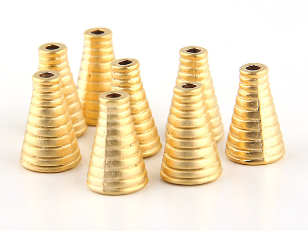 Small, Ribbed Cone Bead End / Cord End / Tassel Cap, 22k Gold Plated, 8 pieces // GF-104