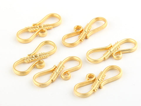 S Shaped Hook Clasps, 22k Matte Gold Plated, 6 pieces - Clasp Supplies // GF-110
