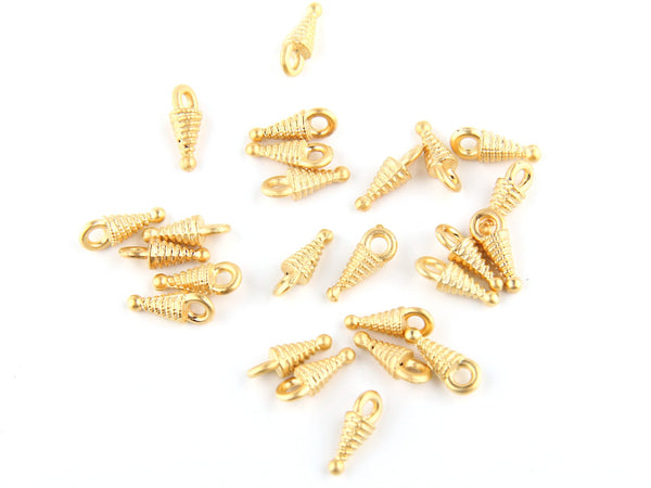Mini Gold Pointy Charms, Spike Charms, 25 pieces // GCh-182