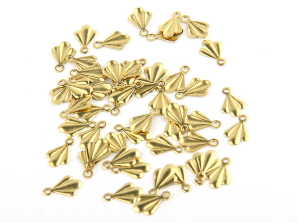 Raw Brass Mini Leaf Charms, Stamping Charms, 50 pieces //  RAW-012