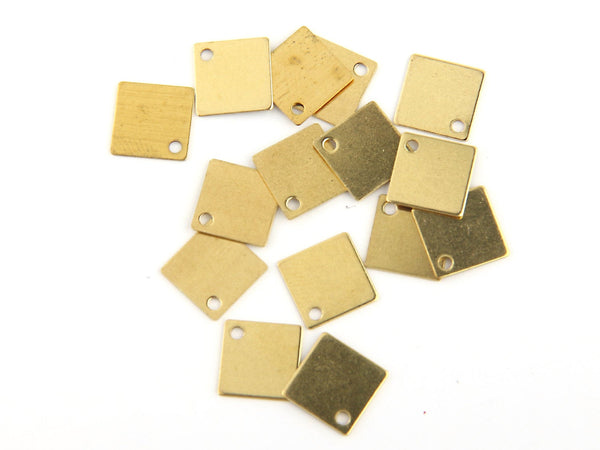 Raw Brass Square Charms, Stamping Charms, 25 pieces // RAW-010