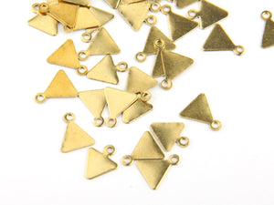 Raw Brass Mini Triangle Charms, Stamping Charms, 50 pieces // RAW-013