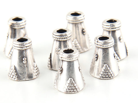 Tibetan Bali Style Cone Bead Caps, Small Tassel Caps, End Caps, Silver Plated, 8 pieces // SF-072