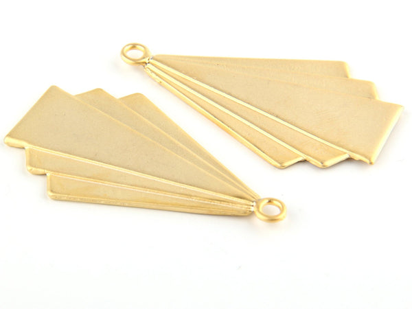 Gold Tribal Pendant, Triangle Tribal Pendant, Gold Plated, 2 pieces // GP-391
