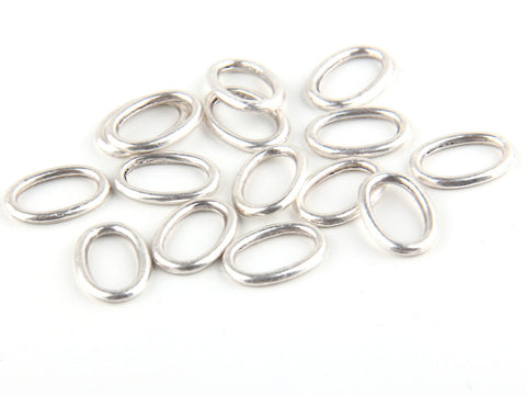 Mini Oval Silver Closed Jump Rings, Mini Oval Connectors, Silver Plated, 15 pieces /SC-158