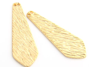 Gold Plated Tie Pendant, Textured Gold Tie Pendant, 17,5 mm, 2 pcs // GP-409