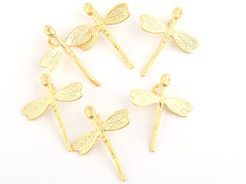 Gold Dragonfly Charms, Flying Insect Charms, 6 pieces // GCh-192