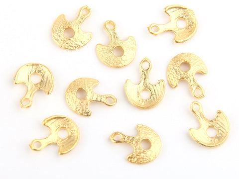 Gold Scoop Charms with Hole, 22k Matte Gold Plated, 10 pcs // GCh-188