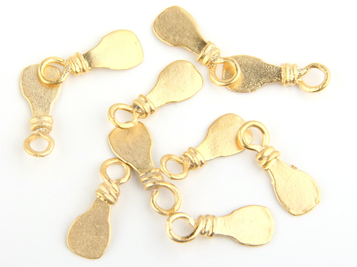 Gold Flat Paddle Charms, 22k Matte Gold Plated, 10 pcs // GCh-189