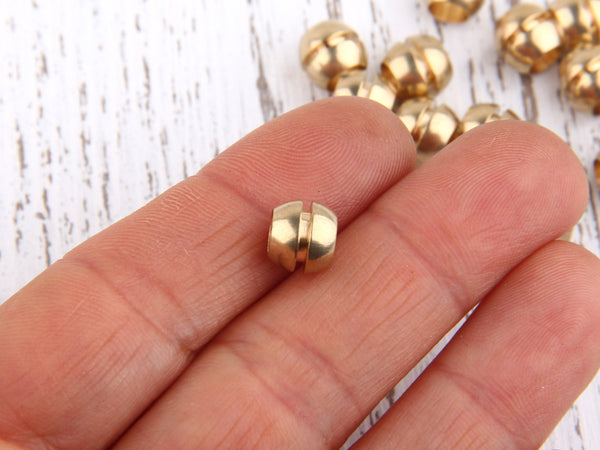 Raw Brass Round Bead, Industrial Jewelry Supplies, Industrial Findings, 8x7mm, 15pcs // RAW-033