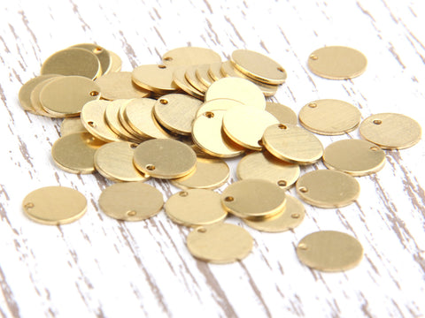 Raw Brass Round Disc, Stamping Disc, Disc Charms, 10mm, 50 pcs // RAW-024