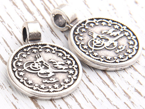 Antique Silver Tughra Charm Pendants, 2 pcs // SP-243