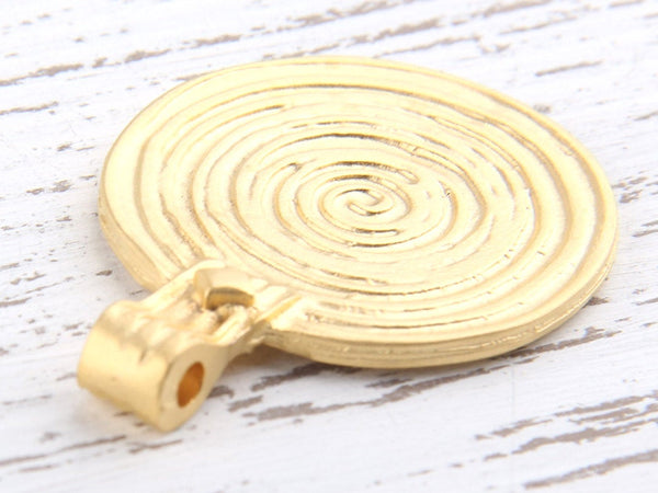 Large Round Spiral Gold Pendant, 33,5 mm, 1 piece // GP-443