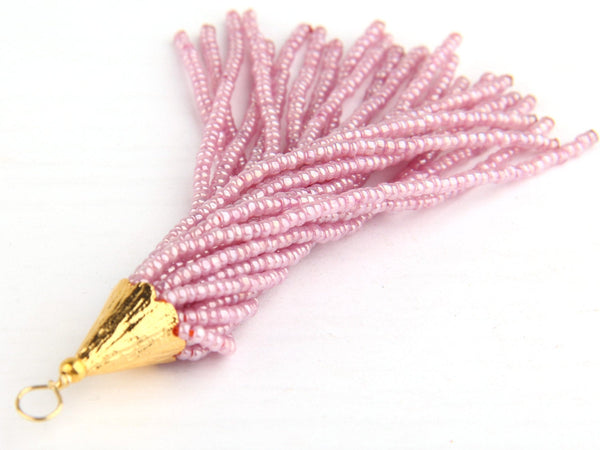 Blush Pink, Seed Bead Tassel, Boho Tassel, Beaded Tassel, 1 pc, 90 mm / 3,5'' // TAS-080