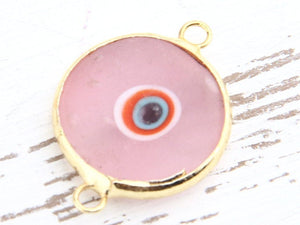 Pink, Matte Glass Evil Eye Connector, Handmade,15-16 mm, 1 piece// GC-412
