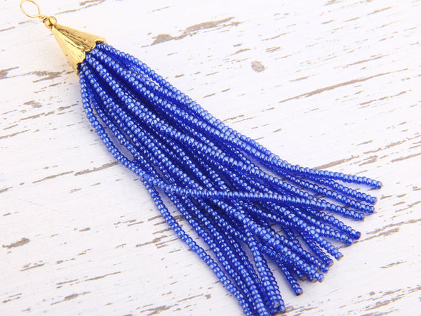Blue Ink, Seed Bead Tassel, Boho Tassel, Beaded Tassel, 1 pc, 90 mm / 3,5'' // TAS-080