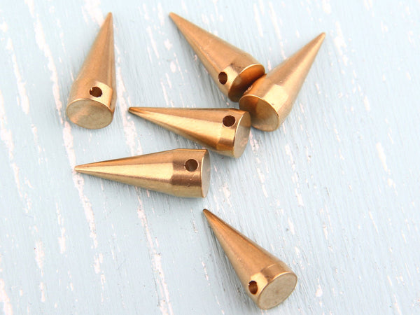 Raw Brass Spike Charms, Spike Pendants, 8x20mm, Industrial Jewelry Findings, 6 pcs // RAW-042