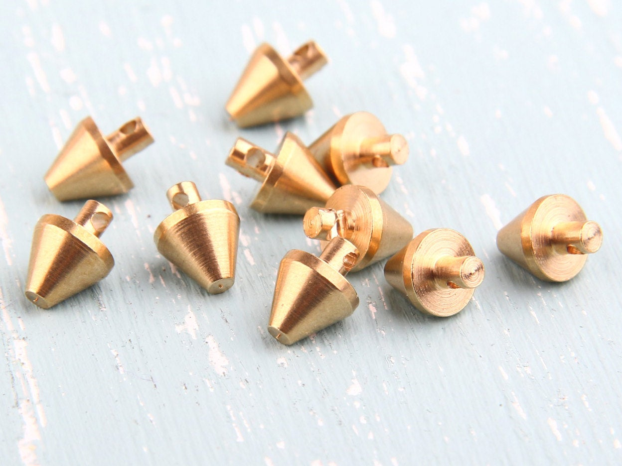 Raw Brass Spike Charms, Spike Pendants, 7x10mm, Industrial Jewelry Findings, 10 pcs // RAW-043