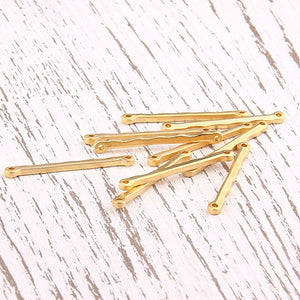 Wavey Stick Gold Plated Bar Connector Link, 10 Pieces // GC-419
