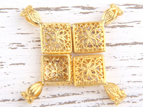 Matte Gold Fretwork Square Bail Charm Pendant, 4 pieces // GP-442