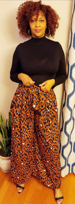 AVA ANIMAL PALAZZO PANTS - RUST