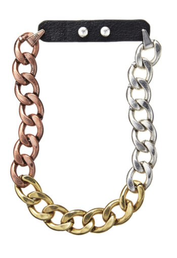 Trina Tri-Color Links and Leather Necklace