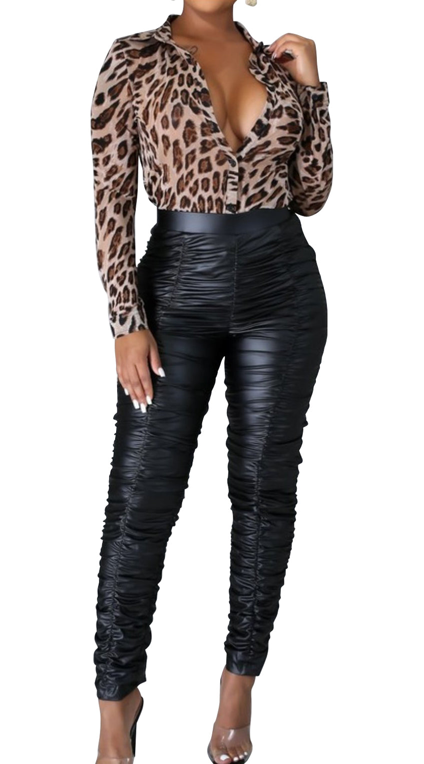Leatherette Shirred Pants