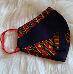 Maddie African Print Face Mask with Straw Hole
