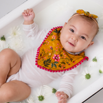 Load image into Gallery viewer, Floral Bib - Mustard Yellow