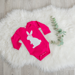 Load image into Gallery viewer, White Bunny Onesie - Cerise