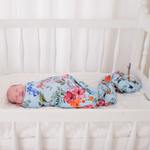 Load image into Gallery viewer, Floral Swaddle - Blue